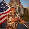 Larry with Flag, Occupy Austin Movement - Austin, Texas
