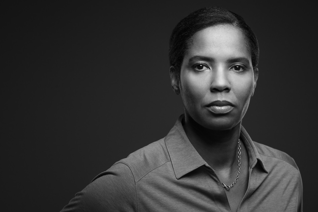 A Black and White portrait of Briana Scurry