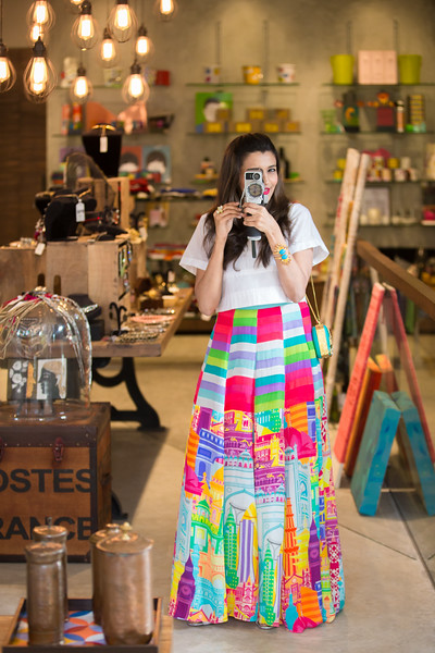"""Portrait session with Vishwa Dave for her fashion blog  <a href=""""http://www.embellvish.com"""">http://www.embellvish.com</a>. This quirky style was shot in the shop Maal Gaadi – Chennai. India on May 14, 2015. Photo by Shannon ZIrkle"""