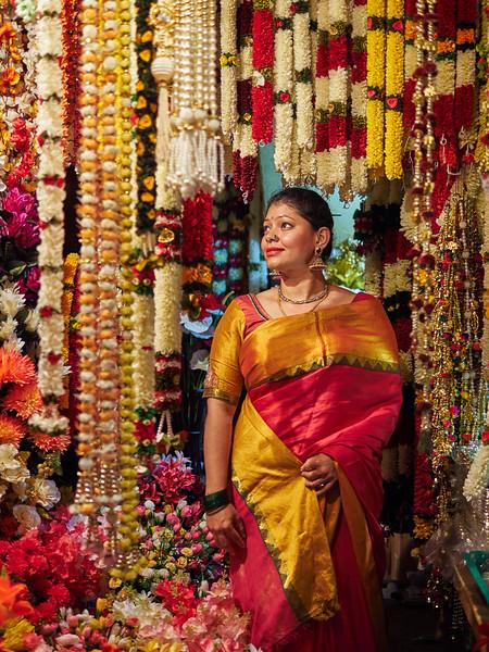 Sahana at the Flower Shop - Bangalore, India