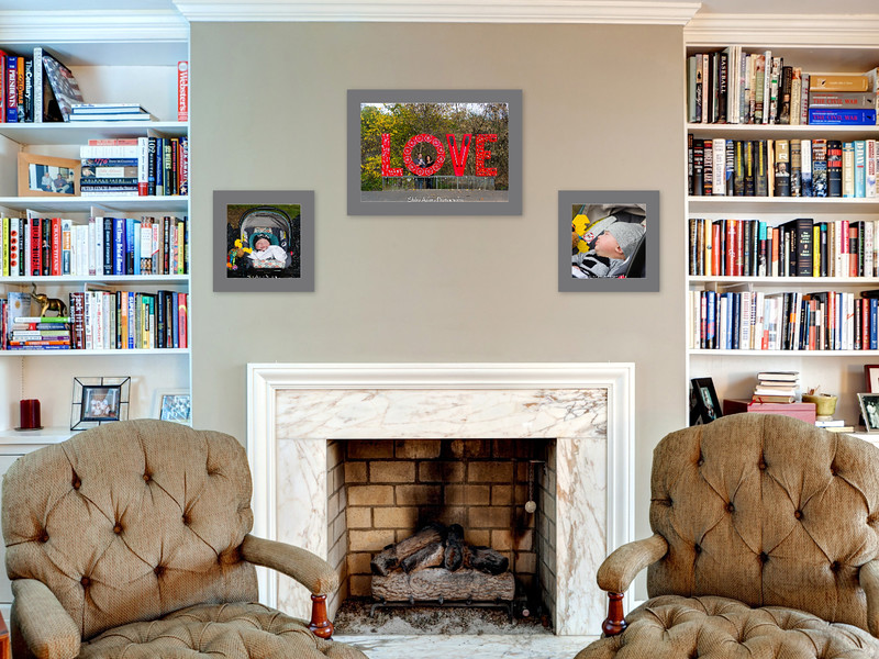 A mantel makes the perfect location for a three portrait collection. Two 12 X 12's and a 16 X 24 framed print.