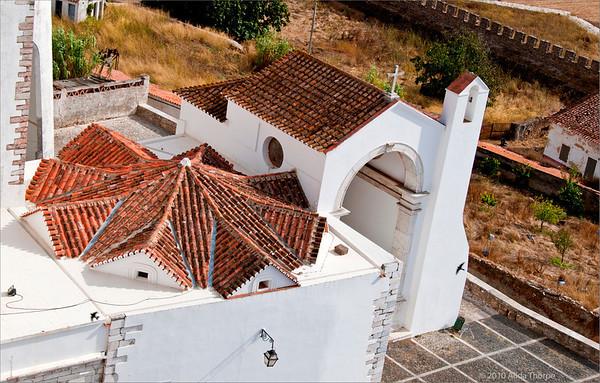 Church roof in Estremoz, Portugal
