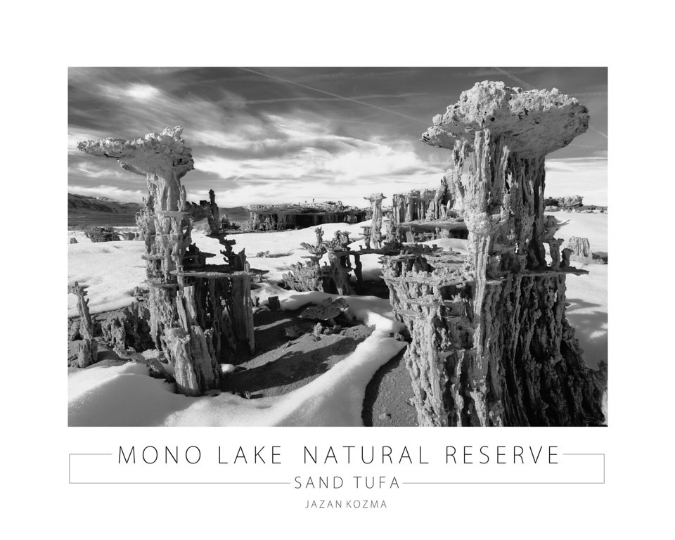 Sand Tufa - Mono Lake Natural Reserve - Poster. 24x30 Poster is available printed and framed on archival aluminum with high gloss finish for $650.00 US dollars. It is also available on Crystal Archive paper for $325.00 US dollars.