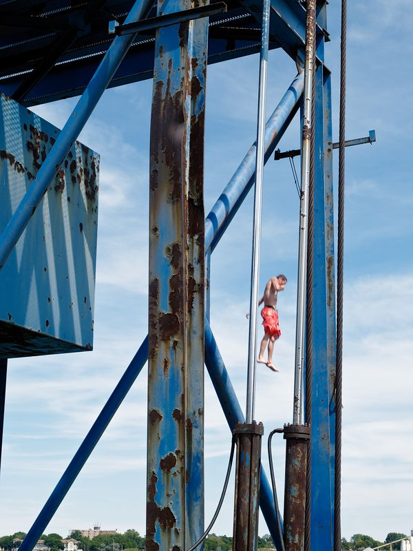 Diving off the old piers at the Port Huron Seaway Terminal