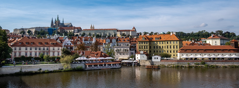 Prague Castle In The Distance Seen From The Vitava (Moldau) River