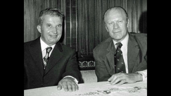 President Ford & President Ceausescu Signing Ceremony at Peles Castle