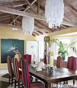 House beautiful magazine report on Liza Pulitzer's home in Palm Beach FL. Maison e Maison dining table and chairs using Bolivian sources blankets