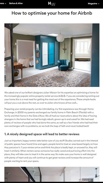 interior design for holiday rents with Julian Maison