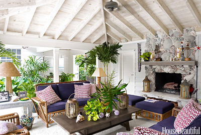 House beautiful magazine report on Liza Pulitzer's home in Palm Beach FL. Maison e Maison coffee table in center.