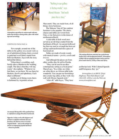 Massive square dining table featured in Florida design magazine