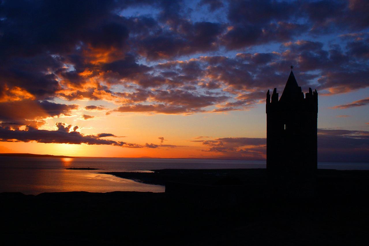 Doolin, Ireland Watchtower at Sunset
