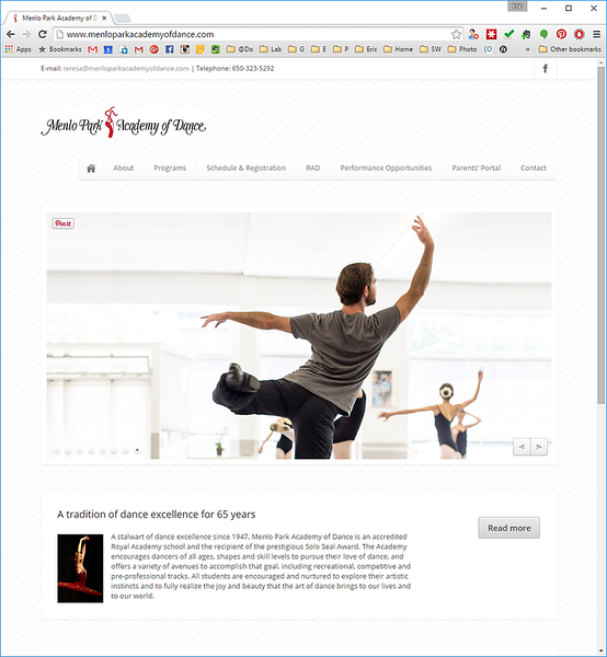 menloparkacademyofdance.com home page