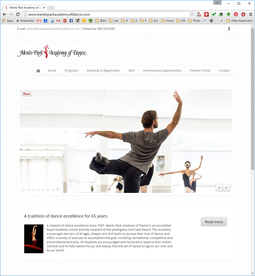 menloparkacademyofdance.com home page