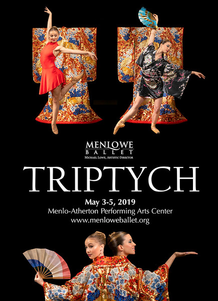 Poster for Menlowe Ballet Triptych by Michael Lowe, Spring 2019. Featuring Leighton Shiveley and Julie Giordano.