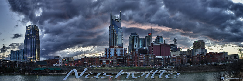 Nashville Skyline<br /> HDR Panorama<br /> <br /> Copyright 2010<br /> All Rights Reserved<br /> JR Howell<br /> 1812 37th Street Ct<br /> Moline, IL 61265<br /> JRHowell@me.com