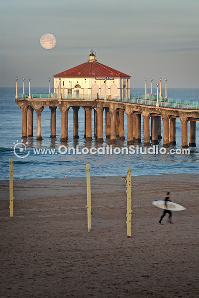 Moonset and Surfer at Manhattan Beach