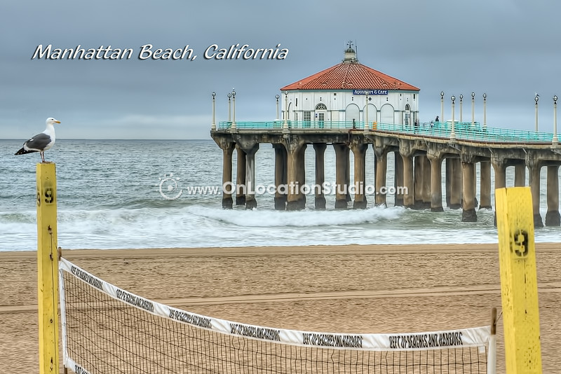 Manhattan Beach Pier with Life Guard Stand and Seagull