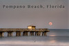 Pompano pier with moon rising