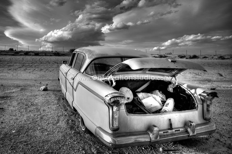 A moment in time freezes for decades inside this old trunk at Pearsonville's graveyard for cars.