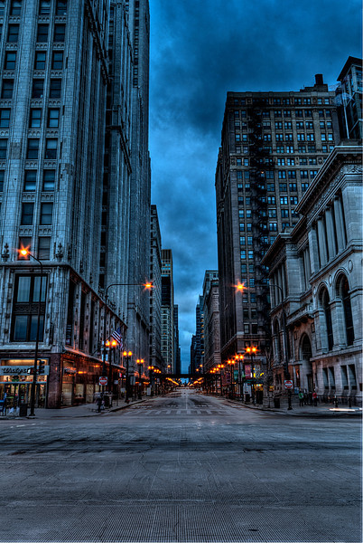 A look down Washington Street from Millennium Park.