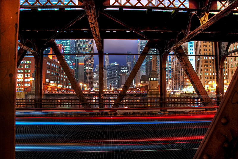 Looking through the Wells Street Bridge over the Chicago River.