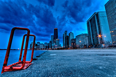 A Swim Ladder along the Lakeshore path downtown Chicago,