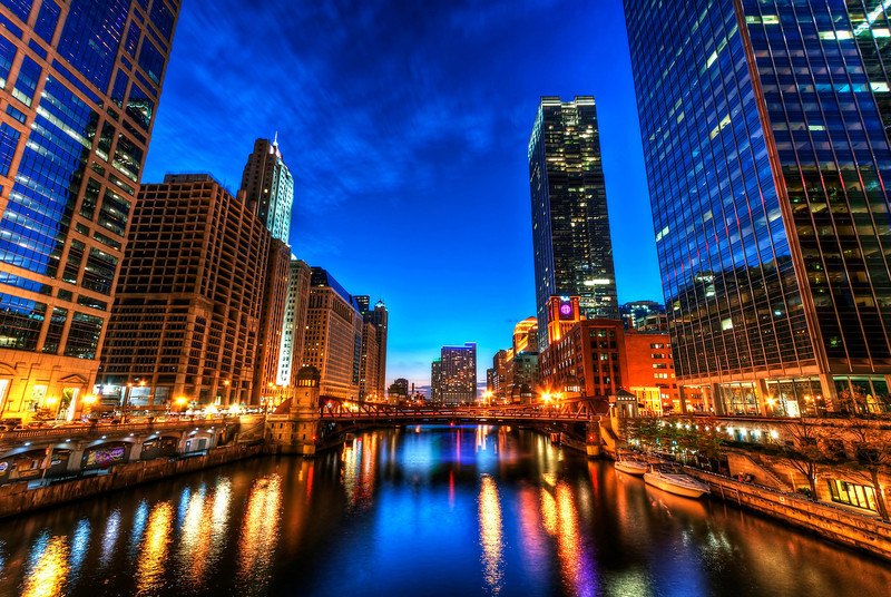 Chicago River at Blue Hour
