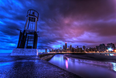 Chicago's Skyline from North Avenue as some rain clouds roll in.