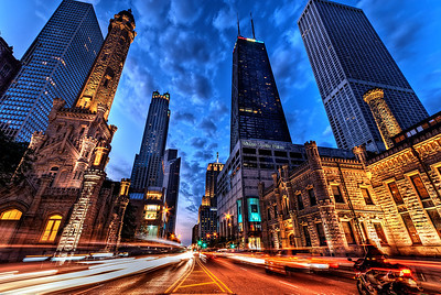 Chicago's Michigan Avenue Alive on a Saturday Night.