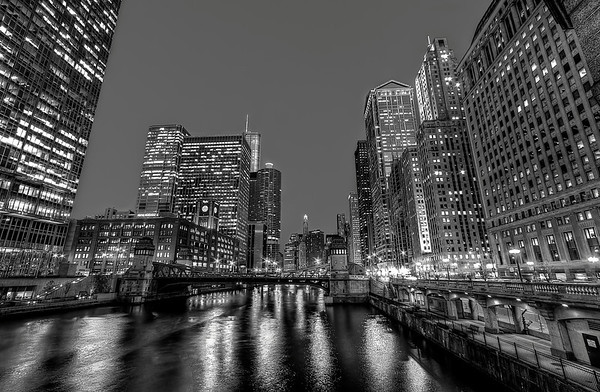 Chicago's River in Black and White