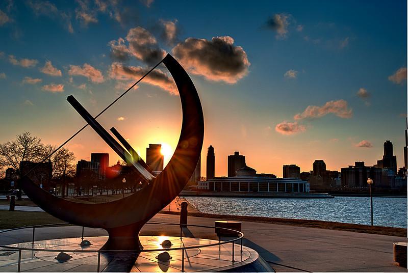 The sun setting over the city as looking through the Adler Planetarium Sundial.