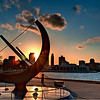 The sun setting over the city as looking through the Adler Planetarium Sundial.