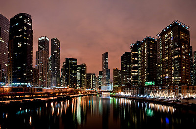 A large three shot Panoramic view of the Chicago River taken from the Lakeshore Drive Bridge.