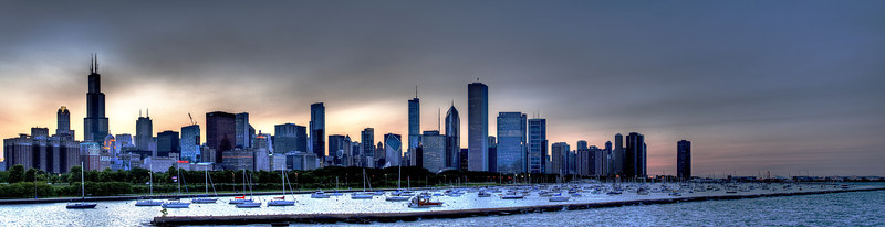Chicago's Iconic Skyline along which many dock their boats.