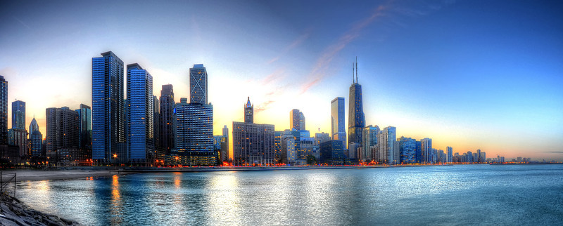 Chicago's Skyline right after sunset!