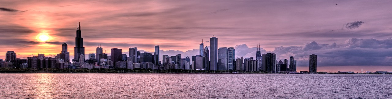 Chicago's iconic Skyline at sunset.