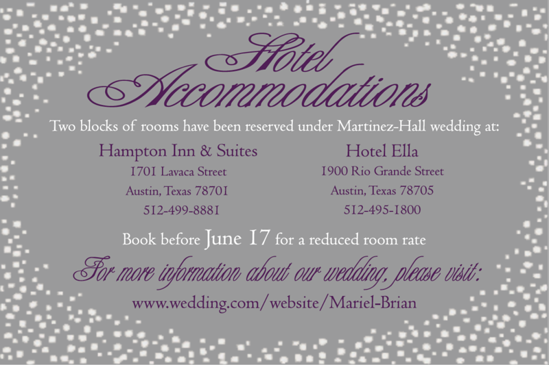 Hotel card for wedding invitations