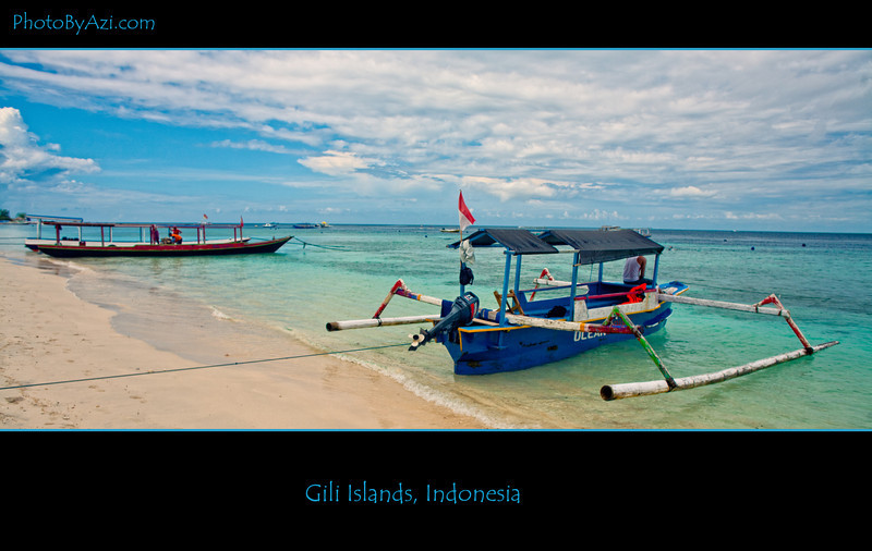 White sand beach, beautiful banana boats, great people- Gili islands, Indonesia
