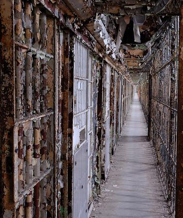 Narrow Walkway on Cell Block - Mansfield Reformatory