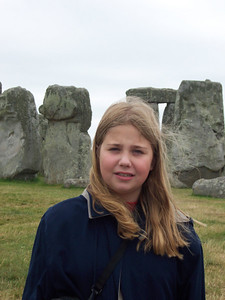 Kate Downes summer of 2005 in front of Stonehenge, England.