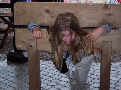 Kate in the stocks in England.  2005