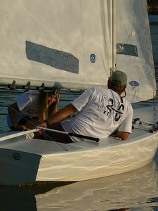 Sandy and Kate sailing the fall series, 2006.