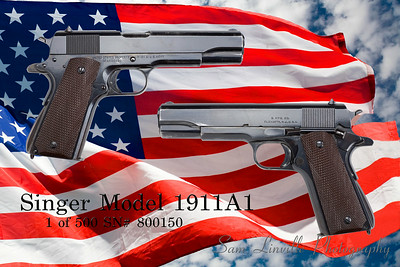 During WWII the Singer Sewing Machine Company manufactured 500 45 cal 1911 A1 hand guns. This are now highly collectible  and very rare. I believe there are only about 200 known examples left. This one is in excellent condition.