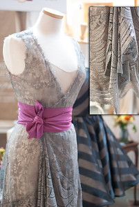 Composite photo of dress design by Mignonette Bridal. (Inset: detail of fabric)
