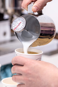 Live shot of coffee pour