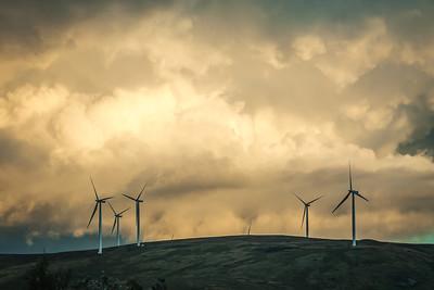 Clyde Windfarm against an angry sky
