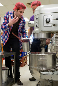 "Food Network host, Adam Gertler, films an episode of ""Kid in a Candy Store"" at Zingerman's Bakehouse in Ann Arbor, MI."