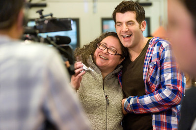 "Food Network host, Adam Gertler, has fun with a customer while filming an episode of ""Kid in a Candy Store"" at Zingerman's Bakehouse in Ann Arbor, MI."