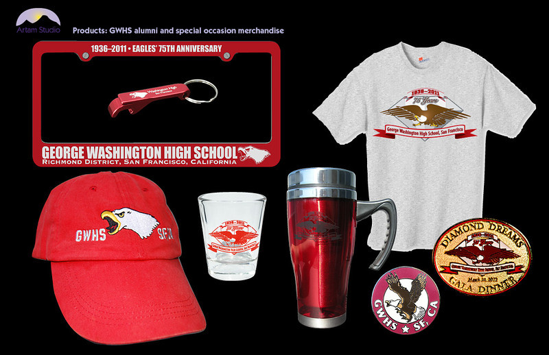 Design, production, vendor sourcing and management of silkscreened plastics, glassware, and apparel, enameled metal, and embroidered apparel for GWHS Alumni Association.