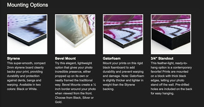 Various mounting options available to you and your guests when ordering from the Smugmug website.